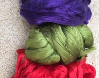 Mulberry silk roving  for spinning / felting.  3x10=30 gr Bombyx silk, natural fiber, cultivated silk in tops, raw fiber, silk fiber.