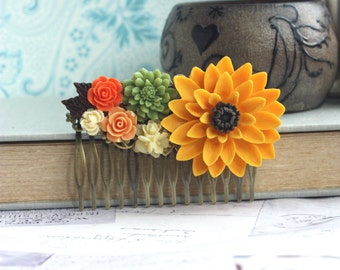 Wedding Hair comb Large SunFlower Comb Yellow Orange, Green Ivory Bridesmaids Gift Large Chrysanthemum Flower, Fall Woodland Wedding, Rustic