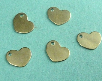 14k Gold Filled Sequin Heart Blank Tags, 28g 8.5mm .9mm hole-2pcs