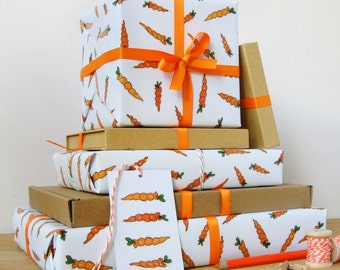 Carrot Wrapping Paper Set - Gift Wrap - Quirky Eco Friendly Wrapping Paper - Carrot Print - Birthday Wrapping Paper - Spring Gift Wrap