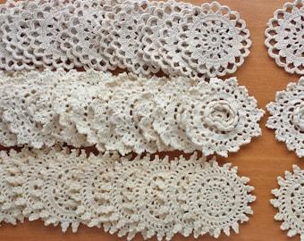 60 Vintage Crochet Doilies, approx. 2.25-2.5 inch sizes, Ecru, Tan, Taupe, Beige Color Crochet Doilies, Vintage Crochet Lace Doily Rosettes