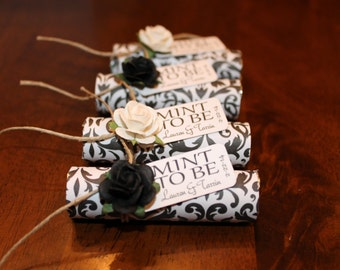 """Mint wedding Favors - Set of 24 mint rolls - """"Mint to be"""" favors with personalized tag - black and white, white wedding favors"""