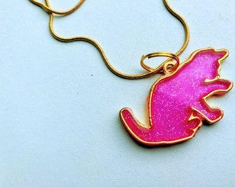 Pink Sparkle Cat Pendant Necklace