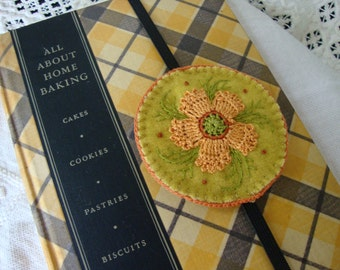 Lichen and Melon Floral Wool Embroidered Bookmark
