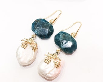 Blue Quartz and Pearl Earrings