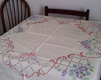 Cross Stitch embroidered table cloth