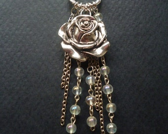 Rose waterfall necklace ~ Cascade necklace ~ Gift for her ~ Alternative Wedding jewelry ~ Flower jewelry