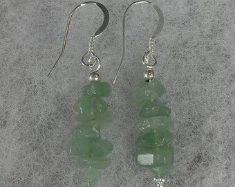 Sterling Silver and Aventurine Earrings
