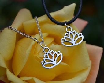 Lotus Flower Choker Or Necklace. Charm Choker. Lotus Necklace. Lotus Flower Jewelry. Black Choker. Silver Jewellery.