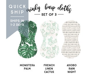 Burp Cloths Monstera Set of Three. Baby Gift. Baby Shower Gift. Burp Cloth. Burp Rag. Baby Essentials. Quick Ship.