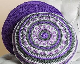 Mind Your Mandala Pillows , DMC crochet Pattern.  home decor ,crochet pillow, cushion crochet, crochet mandala