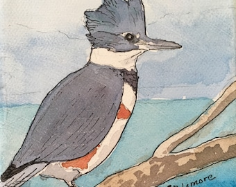 "Kingfisher Watercolor Little 4""x4"" Painting on Canvas Bird Small Gift Decor Coastal Nature Art Knicknack"