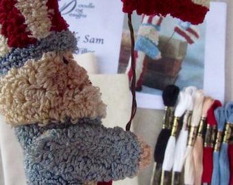 Primitive Punch Needle KIT ~ Uncle Sam Bowl Filler or Shelf sitter - Patriotic Folk Art - Needle Punch Pattern - Americana Punchneedle