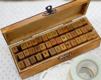 42 Antique Style Alphabet Number Stamp Set- Wooden Rubber Stamps NEW V2