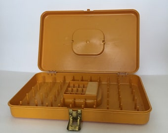 Thread Storage Box Sewing Supply Storage Bobbins Spools Pins Goldenrod Yellow Wil-hold by Wilson MFG