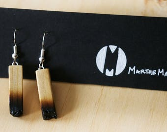 Burned Wooden Earrings