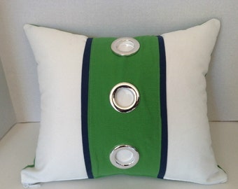 "Green White Navy Nautical  Stripe Silver Grommet Designer Pillow/Decorative Throw Pillow  16"" x 20""/Color Block Pillow/Includes Insert"