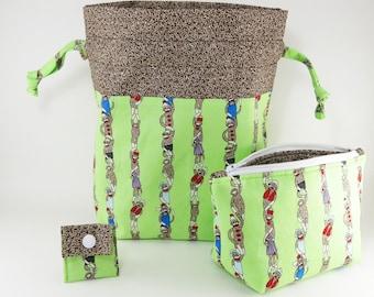 "Knitting Project Bag - New! ""Sock Monkey Green"" 2 Piece Set Knitting Project Bag (V)"