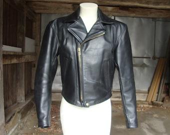Vintage LANGLITZ Women's Black Leather Motorcycle Jacket * Excellent Condition * S-M