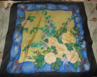 Silk scarf handpainted flowers Drape