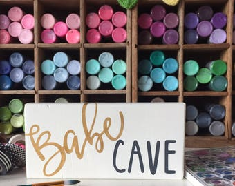 Babe cave painted wood sign  girl's room decor craft room sign  girlfriend gift maker sign makers gonna make studio decor maker wall