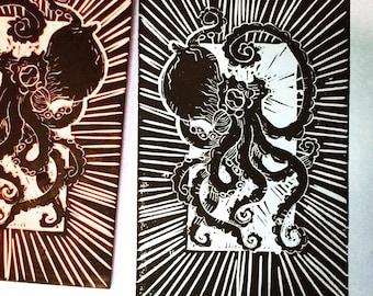 Little octopus woodblock style linoprint