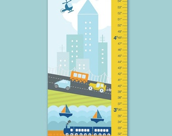 """Growth Chart Height Chart Personalized Canvas  for Children- Busy City- 13"""" X42"""" Inches"""