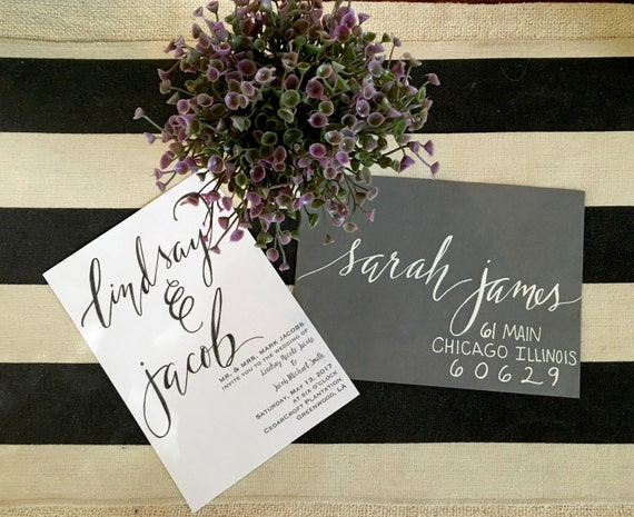 Wedding Calligraphy CARDSTOCK Invitation -  Handlettered Envelopes also available
