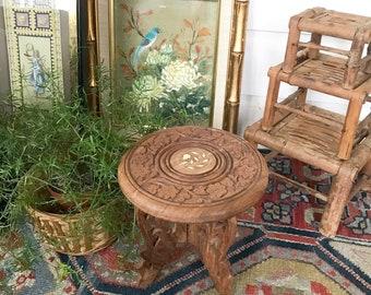 Carved Wood PLant Stand • Folk Art  Bohemian Decor