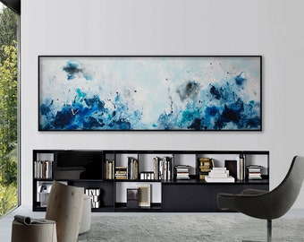 Seascape painting Large blue painting Coastal beach art Ocean waves sea Seascape canvas art Blue white art abstract painting horizontal