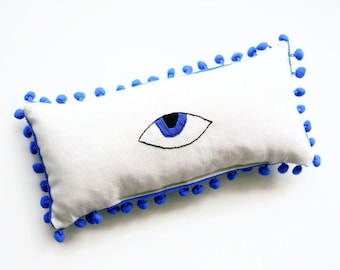 "Evil Eye Pillow - Evil Eye Decor - Teen Decor - Housewarming gifts - Hand Embroidered Mini Lumbar Pillow - 30X15 cm (11.8""X5.9"")"