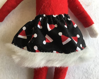 Black Skirt with Red and White Santa Hats and Fur Trim by Christmas Shelf Clothes for Girl Elf or Pixie