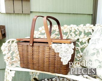 Wooden Picnic Basket with Lid ~ Rustic Farmhouse Cottage Shabby Chic Home Decor