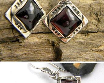 Garnet earrings, sterling silver dangle earrings, rustic antique style, gemstone earrings, garnet jewelry, January birthstone