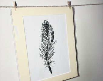 Print of Feather Sketch