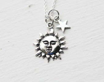 You Are My Sunshine Necklace- Sun Star Charm Jewelry- 925 Sterling Silver or Silver Tone Chain- Last Minute Gift