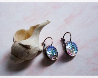 Bronze Earrings, Drop Earrings, Mermaid Jewelry, Iridescent earrings, Mermaid Accessories, Dragon Scales, Mermaid Gifts, Mermaid Earrings