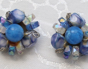 CE # 104 Vintage Blue and Clear Bead Cluster Clip On Earrings in Various Textures and Shades