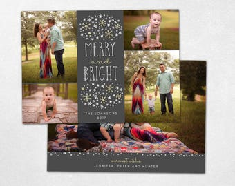 Christmas Card Template -  Merry and Bright Holidays Horizontal Photo Card - Photoshop template 5x7 flat card - CC167