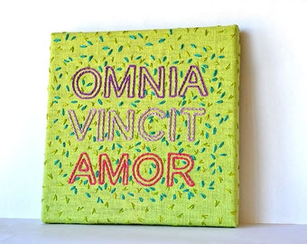statement embroidery pattern, omnia vincit amor, plant embroidery, modern embroidery, botanical embroidery pattern, beginner embroidery