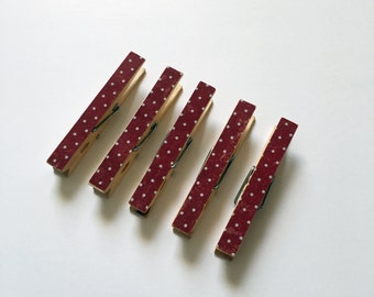 Decorative Clothespins Standard Size Burgundy/Maroon & Tiny Polka Dots Print Set of 5 Wooden Clothes Pin Clips Farmhouse Decor Card Holder