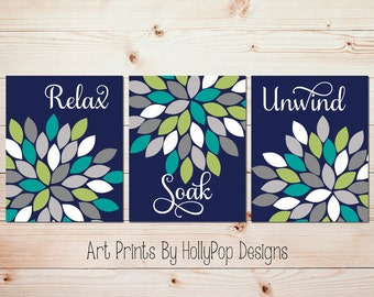 Navy Bathroom Decor Relax Soak Unwind Art Prints Bathroom Wall Art Spa  Decor Dahlia Bathroom Prints
