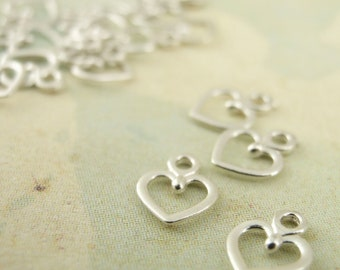 20 Petite Sterling Silver Heart Charms - 100% Guarantee
