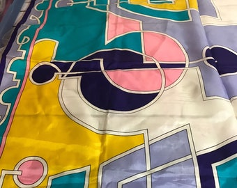 Vintage Paoli 60s/70s scarf purple pink yellow blue 30 x 30 Square