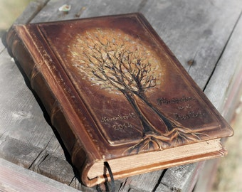 Rustic leather journal guest book two Trees of life