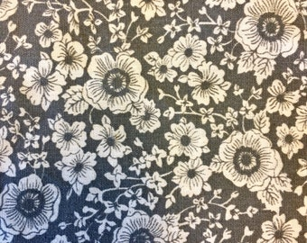 Charcoal gray and white allover poppies floral print cotton fabric yardage
