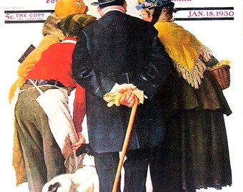 Stock Exchange Quotation - 1976 Norman Rockwell Print - Saturday Evening Post Cover Reproduction - 14 x 10