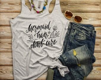 Mermaid Hair Tank Top, Mermaid T-Shirts, Beach TShirt, Funny Mermaid T Shirts, Vacation Shirts, Mermaid Top, Mermaid Tee, Mermaid Shirt