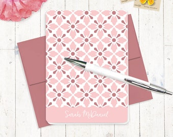 personalized note cards stationery set - VINTAGE MODERN WALLPAPER pattern - set of 8 - personalized stationary - feminine cards
