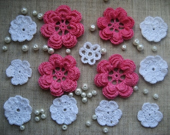 Kit crochet flowers(12pcs) for headbands,sewing and scrapbooking